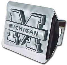 University of Michigan Shiny Chrome Hitch Cover