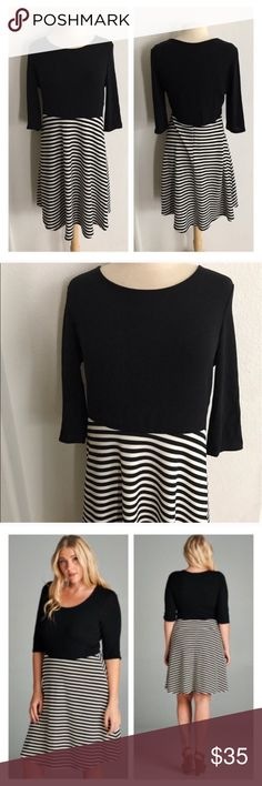 """(Plus) B/w dress B/w striped dress. Very stretchy and very TTS (I'm a 2x/16 and the 2x fit like it was made for me!). Bust measurements are laying flat – they easily stretch well beyond that. Rayon/ poly/ spandex combo 1x: L  41"""" B 40""""  2x: L 41"""" B 42""""  3x: L 42"""" B 44"""" ⭐️This item is brand new without tags 💲Price is firm unless bundled ✅Bundle offers Availability: 1x•2x•3x • 2•2•1 Dresses"""