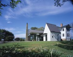 Exterior. Blue Ridge Farmhouse Addition, by Robert Gurney Architect.