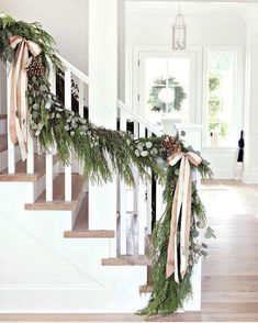 38 Cool And Fun Christmas Stairs Decoration Ideas 20 Classy Christmas, Christmas Porch, Farmhouse Christmas Decor, Rustic Christmas, White Christmas, Cheap Christmas, Christmas 2016, Christmas Christmas, French Christmas Decor