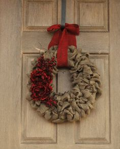 Christmas Burlap Wreath--Christmas Wreath with Red Peony Flowers, Red Berries, and Curly Willow Twigs