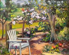 Garden corner,  landscape, California, impressionism, oil painting, landscapes painting, realism, classical, plein air painting, green, flowers,
