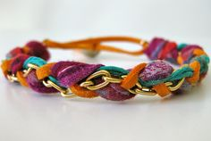 Super cute and colorful up-cycled fabric bracelet!!
