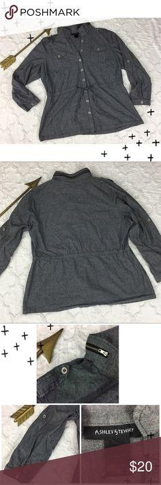 Ashley Stewart Size 20 Black Denim Jacket/Shirt Button front, lightweight denim shirt/jacket. Drawstring belt at waist. Zipper accents at collar + epaulettes.  Unlined. Gently used. Ashley Stewart Jackets & Coats Jean Jackets