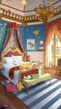 Royal Bedroom, Picsart Tutorial, Fantasy Art Landscapes, Cute Anime Boy, Cool Rooms, Concept Art, Toddler Bed, House Design, Wallpaper