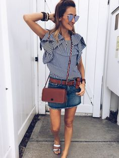 Stripes and ruffles blouse