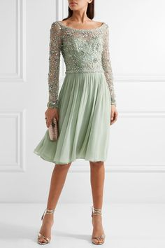 Mint tulle and silk-georgette  Concealed hook and zip fastening at back Fabric1: 100% polyester; fabric2: 100% silk; lining: 100% polyester Dry clean Imported
