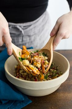 A slight twist on the Moroccan Carrot Salad with roasted carrots, millet, and pomegranate seeds. An easy gluten-free and vegan grain salad.