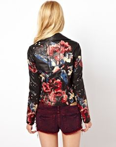 GORGEOUS!!! River Island Floral Hand Painted Leather Jacket
