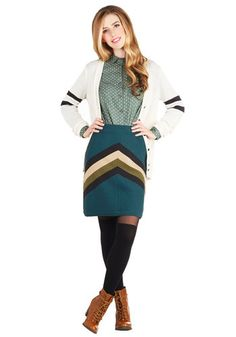 Gondola View Skirt by Knitted Dove - Chevron, Casual, Pencil, Short, Cotton, Knit, Better, Green, Green