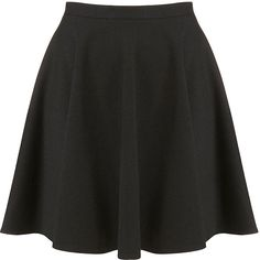 TOPSHOP Black Milano Skater Skirt (19 PEN) ❤ liked on Polyvore featuring skirts, bottoms, topshop, faldas, black, topshop skirts, skater skirt, flared skirt and circle skirts