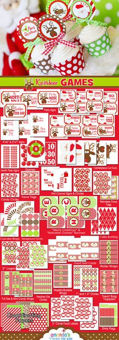 Christmas Reindeer Games  Printables  - Christmas Party - Santa - Huge Party Set by Amanda's Parties To Go - 50% OFF. $15.00, via Etsy.