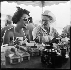 Elizabeth Taylor and James Dean on the set of Giant in 1955.