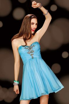 Sweetheart Short Blue Chiffon A Line Homecoming Dress With Pleating