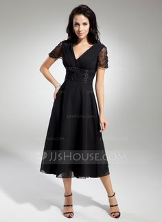 A-Line/Princess V-neck Tea-Length Chiffon Tulle Mother of the Bride Dress With Ruffle Beading (008014919) - JJsHouse  (Color should be Dark Navy)   $128.99