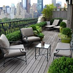 We can't all have a New York penthouse with balcony to match, but we can create seating groups in long, narrow spaces. Image: Houzz