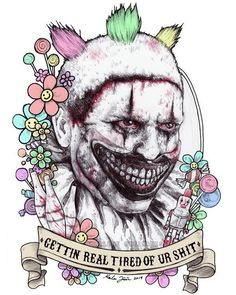 American Horror Story: Freak Show American Horror Story Clown, American Horror Story Tattoo, Arte Horror, Horror Art, Horror Icons, Creepy Clown, Cultura Pop, Coven, Horror Stories