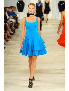Ralph Lauren aqua blue tiered dress shown during Mercedes Benz Fashion Week Spring/Summer 2013 in New York City. #models #fashion #NYFW