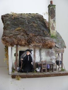 Image detail for Witch's Cottage and Dickensian Scene Haunted Dollhouse, Haunted Dolls, Dollhouse Miniatures, Witch Cottage, Witch House, Vitrine Miniature, Miniature Houses, Halloween Miniatures, Fairy Garden Houses