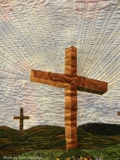 It is Finished / He is Risen by Mary L. Baughn.  2013 Arizona Quilters Guild show, original design.  Closeup photo by Quilt Inspiration