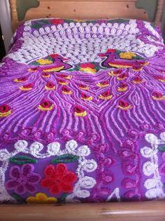 Vintage Deep Lavender Peacock Chenille Bedspread 94 x 88 Linen Bedding, Bed Linen, Vintage Bedspread, Upcycled Vintage, Vintage Linen, Classic House, Bedroom Styles, Bed Spreads, Appliques