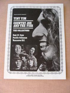 Tiny Tim Concert Handbill 1968 Country Joe by SherwoodsTreasures