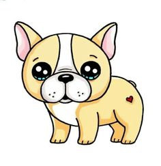 Drawing Tips draw so cute Kawaii Girl Drawings, Cute Animal Drawings Kawaii, Cute Easy Drawings, Disney Drawings, Cartoon Drawings, Draw So Cute Animals, Arte Do Kawaii, Kawaii Art, French Bulldog Drawing