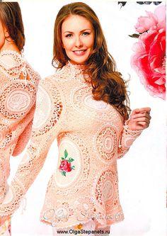 Абрикосовый свитер из альпаки, мохера, шелка с вышивкой крестом - #свитер, #крючок, #вышивка, #роза