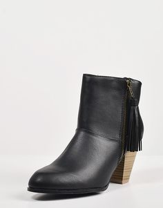 Tassel Zippered Ankle Booties – Shoes – 2020AVE