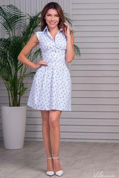 Модна бавовняна сукня з якірцями • колір: білий • інтернет магазин • vilenna.ua