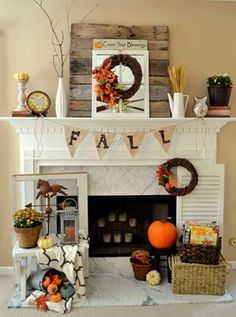 Fall mantel (with reclaimed pallet wood) - My fall mantel from this year! I wanted the main feature this year to be some reclaimed pallet wood that I made into… Fall Mantel Decorations, Thanksgiving Decorations, Seasonal Decor, Mantel Ideas, Decor Ideas, Halloween Decorations, Christmas Decor, Room Ideas, Fall Home Decor