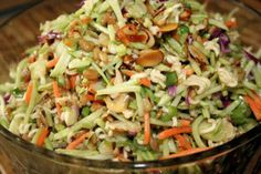 Broccoli Slaw and Raman Noodle Salad--1 pkg Broccoli Slaw, 4 pkgs Ramen Noodles (Oriental or chicken flavor), Scallions chopped, 1 c Sunflower Seeds toasted, 1/2 c Slivered Almonds toasted, 1 c Oil, 1/2 c White Vinegar, 1/2 c Sugar. In large bowl, break uncooked Ramen noodles into small pieces. Add broccoli slaw, scallions, sunflower seeds and almonds. In separate container, mix vinegar and sugar. Microwave to dissolve sugar, add oil and Ramen noodle flavor packets for dressing. Pour…