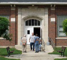 Waggoner IL - Former Community High School  (1921-48) & Grade School (1948-86), currently used as a community center.  Photo by Randy von Liski on Flickr