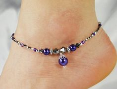 Hey, I found this really awesome Etsy listing at https://www.etsy.com/listing/228625706/anklet-ankle-bracelet-purple-glass-pearl