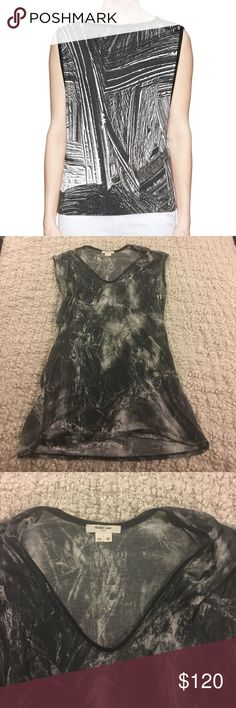 "Helmut Lang Sleeveless Dark Matter Jersey Modal, loose fit, scoopneck, Sleeveless, 38"" bust, 32"" length, in great condition, first photo is fit reference Helmut Lang Tops Tank Tops"