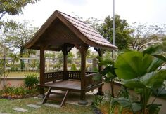 raised gazebo from Malaysia Gazebo, Pergola, Hut House, Fibreglass Roof, Porch Roof, Coffee Shop Design, Yard Landscaping, Interior Architecture, Outdoor Structures