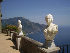 #Villa_Cimbrone, #Ravello #Amalfi #Italy - The #terrace of the infinity ledge at the end of the garden offers breathtaking views. Not to be missed! Get some great #trip_ideas and start planning your next trip! See More: RoutePerfect.com