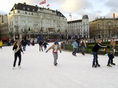 Copenhagen Christmas - ice skating outside Hotel d'Angleterre...