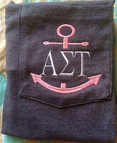 Monogrammed Greek Anchor Pocket Tee SALE by SaylasBoutique on Etsy