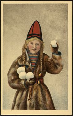 Jente i samelignende drakt / Girl in Sami costume (National Library of Norway) Arctic Circle, Antique Photos, Lund, Traditional Dresses, Vintage Posters, Mittens, Norway, Folk, Costumes