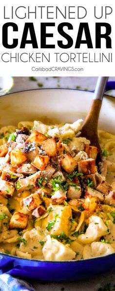 This Creamy Caesar Chicken Tortellini is SO addicting! My family raved about it for days! Its wonderfully cheesy, garlicky, lemony, & perfect with tortellini and juicy chicken! I will be using the chicken marinade just plain too its so good! Chicken Tortellini, Chicken Pasta Recipes, Chicken Ideas, Chicken Tacos, Italian Dishes, Italian Recipes, Chicken Ceasar, Lotsa Pasta, Salads