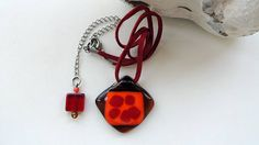 fused glass necklace rhombus glass pendant  necklace brown