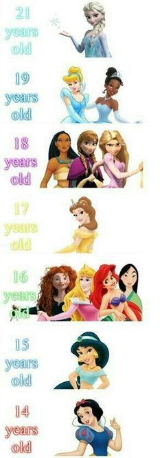 The Real Age Of Disney Princesses. Only Elsa Is Legal? See more about disney princesses, snow white and disney princess ages. Disney Pixar, Walt Disney, Disney Jokes, Gif Disney, Funny Disney Memes, Disney Facts, Disney And Dreamworks, Disney Magic, Funny Memes