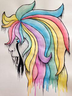 Rainbow dark crying man