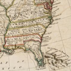 The colony of Virginia goes clear to the Mississippi River in this 18th century map by Thomas Kitchens