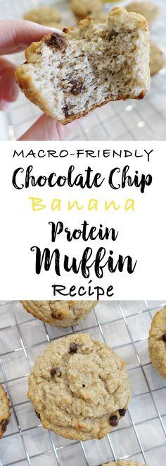 Macro Friendly Chocolate Chip Banana Protein Muffin Recipe