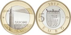 5 euro Finlandia 2013 Art Nouveau, Art Deco, Euro Coins, Christmas Home, Decorative Plates, Lighthouses, Potato, Women's Fashion, Coins