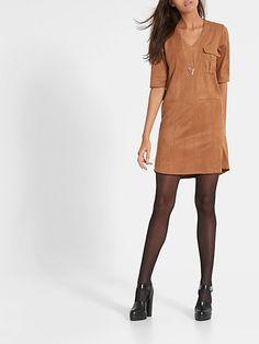 Suede Jurk Cognac - Costes Fashion
