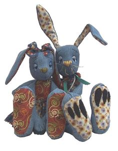 Raggedy Rabbits  soft toy sewing pattern by pcBangles by pcbangles, £5.99
