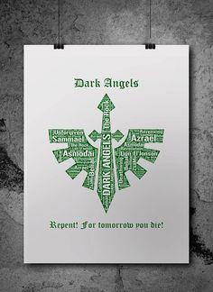 Dark Angels Warhammer 40K Printable Poster Digital by ZsaMoDesign
